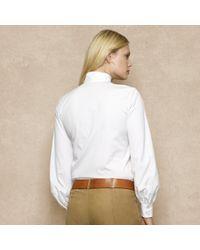 Ralph Lauren Blue Label - White Tie Neck Poplin Shirt - Lyst