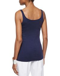 Eileen Fisher - Blue Organic Cotton Slim Tank - Lyst