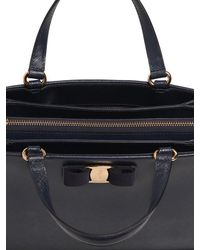 Ferragamo | Blue Tracy Saffiano Leather Tote Bag | Lyst