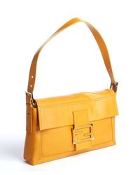 Fendi - Orange Tangerine Leather Zucca Buckle Detail Shoulder Bag - Lyst