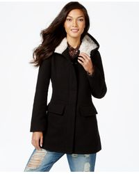 Madden Girl | Black Faux-fur-trim Plaid Walker Coat | Lyst