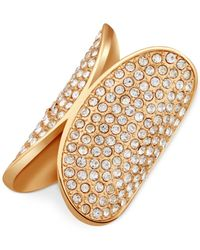 Guess - Metallic Gold-tone Crystal Pavé Stretch Ring - Lyst