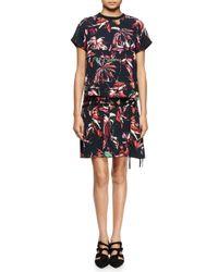 Proenza Schouler - Red Tropical-print Short-sleeve Shirtdress - Lyst
