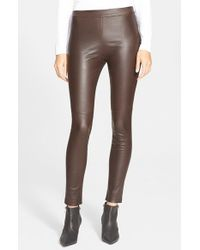 Theory | Brown 'abdelle' Leather Leggings | Lyst