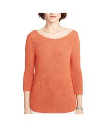 Ralph Lauren | Orange Knit Crop-sleeved Sweater | Lyst
