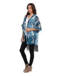 Steve Madden | Blue Marbelicious Kimono W/ Fringe | Lyst