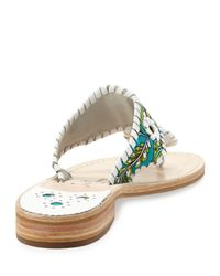 Jack Rogers | Green Peacock Printed Whipstitch Sandal Turquoisewhite | Lyst