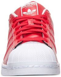 Adidas | Red Men's Originals Kzk Superstar Leather Casual Sneakers From Finish Line for Men | Lyst