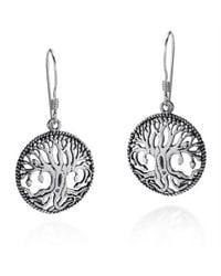 Aeravida | Multicolor Mystical Bloom Celtic Tree Of Life .925 Silver Dangle Earrings | Lyst