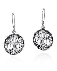 Aeravida - Multicolor Mystical Bloom Celtic Tree Of Life .925 Silver Dangle Earrings - Lyst