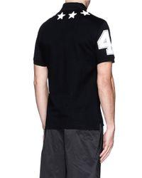 Givenchy - Black Star Appliqué Polo Shirt for Men - Lyst