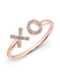 Anne Sisteron Pink 14kt Rose Gold Diamond Xo Ring