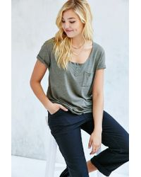 Truly Madly Deeply - Green Henley Tee - Lyst