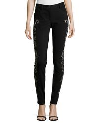 Nicole Miller - Black Embroidered Pant - Lyst