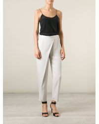Armani - Gray Cross Front Trousers - Lyst