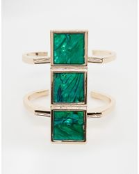 ASOS | Green Square Cuff Bracelet | Lyst