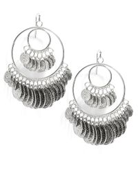 R.j. Graziano | Metallic Coin Hoop Earrings, 2In | Lyst