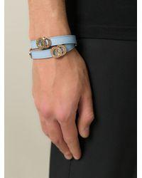 BVLGARI - Blue Logo Embossed Bracelet - Lyst