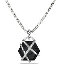 David Yurman | Metallic Cable Wrap Pendant With Black Onyx And Diamonds | Lyst