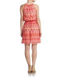Guess   Pink Belted Halter Blouson Dress   Lyst