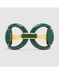 Gucci - Horsebit Bracelet In Green Enamel - Lyst