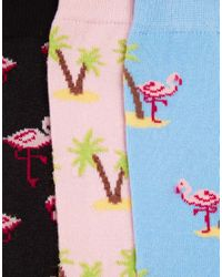 ASOS - Multicolor 3 Pack Socks With Flamingo And Palm Tree Design for Men - Lyst