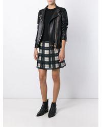 DIESEL - Gray Check Print Pleated Skirt - Lyst