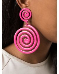 Moschino - Pink Swirl Clip On Earrings - Lyst