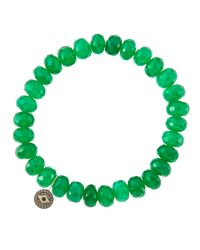 Sydney Evan - 8Mm Faceted Green Onyx Beaded Bracelet With 14K Gold/Diamond Small Moroccan Flower Charm (Made To Order) - Lyst
