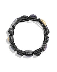David Yurman | Metallic Bracelet With 18k Gold Dome And Black Diamonds | Lyst