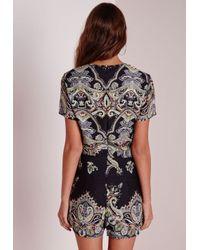 Missguided - Tall Paisley Print Cap Sleeve Romper Black - Lyst