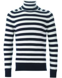 Saint Laurent - White Striped Roll Neck Sweater for Men - Lyst