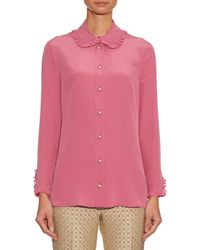 Gucci | Pink Ruffle-trimmed Silk-crepe Blouse | Lyst