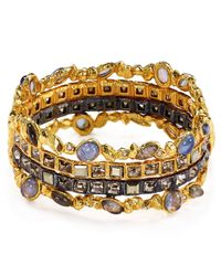 Alexis Bittar | Multicolor Swarovski Crystal Accented Semiprecious Multistone Bangle Bracelet | Lyst