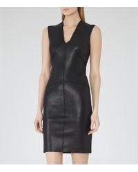 Reiss | Black Kimberly Leather V-Neck Dress | Lyst