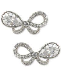 Betsey Johnson - Metallic Betsy Johnson Silver-tone Pavé Crystal Bow Stud Earrings - Lyst