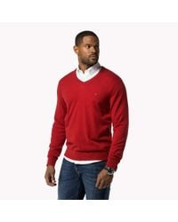 Tommy Hilfiger - Gray Big & Tall Lambswool V-neck Sweater for Men - Lyst
