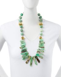 Devon Leigh | Blue Long Chrysoprase Spike & Gold-dipped Nugget Necklace | Lyst