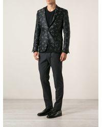 Les Hommes - Black Bird Print Blazer for Men - Lyst