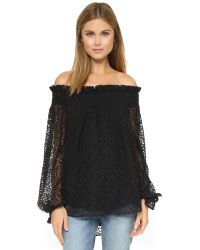 Caroline Constas - Lou Lace Off The Shoulder Top - Black - Lyst