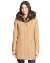 Ellen Tracy - Brown Toggle Closure Hooded Duffle With Genuine Fox Fur Trim - Lyst
