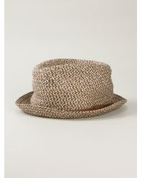 Giorgio Armani | Brown Braided Trilby Hat for Men | Lyst