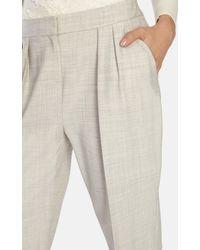 Karen Millen | Gray Cropped Pleat Front Trouser | Lyst