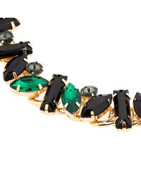 River Island | Metallic Green Gem Embellished Statement Necklace | Lyst