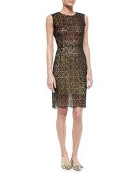 Oscar de la Renta | Black Bead-Embellished Cotton-Lace Dress | Lyst