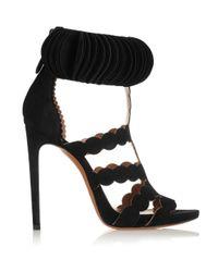 Alaïa - Black Laser-Cut Suede Sandals - Lyst