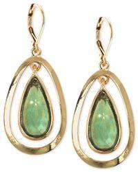 Anne Klein - Green Gold-tone Two Layer Teardrop Earrings - Lyst