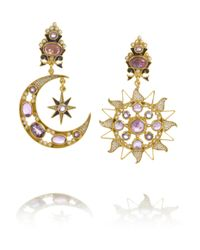 Percossi Papi | Purple Diego Sun and Moon Goldplated Amethyst Earrings | Lyst