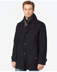 Calvin Klein - Black Melton Wool-blend Coat for Men - Lyst