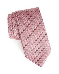 Ferragamo | Pink Mallard Duck Print Silk Tie for Men | Lyst